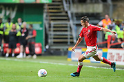 Charlton Athletic midfielder Josh Cullen (24) takes a free kick during the EFL Sky Bet Championship match between Charlton Athletic and Nottingham Forest at The Valley, London, England on 21 August 2019.