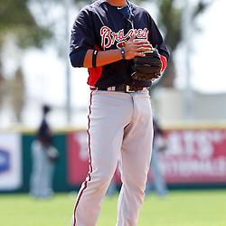 March 4, 2011; Viera, FL, USA; Atlanta Braves second baseman Martin Prado (14) during a spring training exhibition game against the Washington Nationals at Space Coast Stadium.  Mandatory Credit: Derick E. Hingle