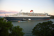 Queen Mary 2 docked in Sydney, Australia-8 March 2010.The mammoth liner, which is 62 metres tall and 345 metres long, is docked at Garden Island Naval Base in Sydney's Woolloomooloo .Paul Lovelace Photography.[ Total 13 Pics].[ Non Exclusive