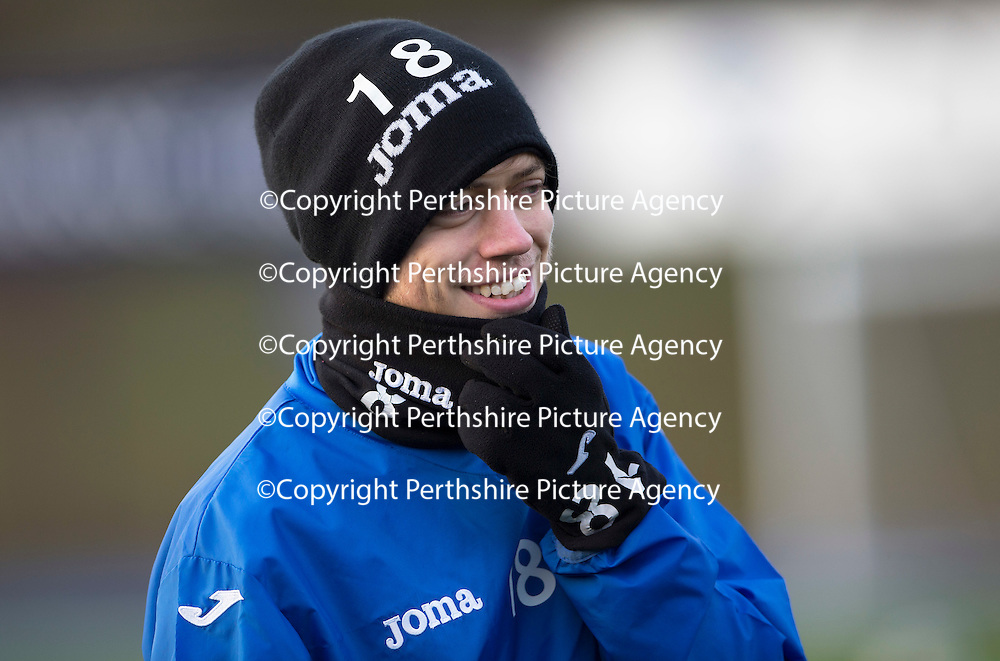 St Johnstone Training....30.12.14<br /> Murray Davidson all smiles after recovering from an abcess, pictured in training this morning ahead of the New Years Day game at Aberdeen.<br /> Picture by Graeme Hart.<br /> Copyright Perthshire Picture Agency<br /> Tel: 01738 623350  Mobile: 07990 594431