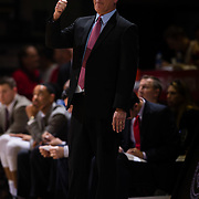 22 December 2018: San Diego State Aztecs head coach Brian Dutcher calling in a play during the second half. The Aztecs beat the Cougars 90-81 Satruday afternoon at Viejas Arena.