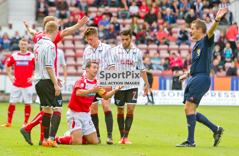 Dunfermline Athletic v Brechin City SPFL League One East End Park 09 August 2014<br /> <br /> Brechin captain Craig Molloy is sorounded by DAFC players<br /> <br /> CRAIG BROWN | sportPix.org.uk