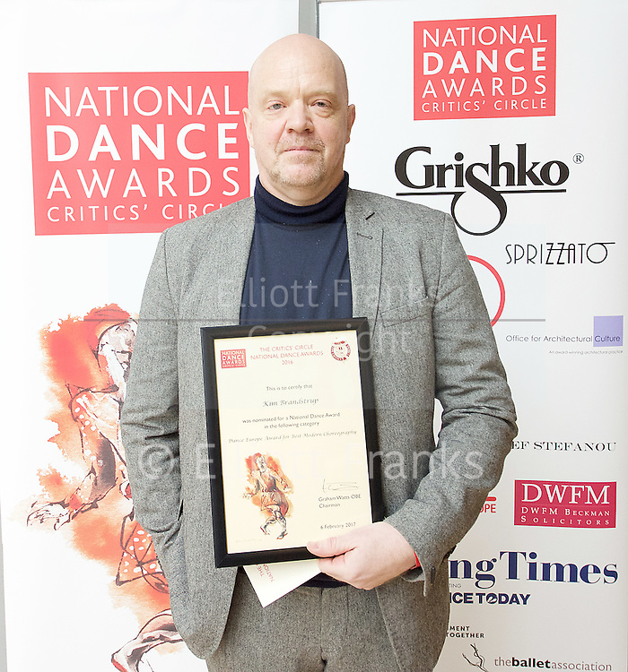 The Critics' Circle National Dance Awards 2016 <br /> at the Lilian Baylis Studio, Sadler's Wells, London, Great Britain <br /> <br /> 6th February 2017 <br /> <br /> Kim Brandstrup <br /> <br /> Photograph by Elliott Franks <br /> Image licensed to Elliott Franks Photography Services
