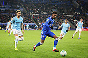 Leicester City midfielder Demarai Gray (7) during the quarter final of the EFL Cup match between Leicester City and Manchester City at the King Power Stadium, Leicester, England on 18 December 2018.