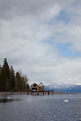 """Boat Dock on Lake Tahoe 5"" - This boat dock was photographed from a small fishing boat on the West shore of Lake Tahoe."