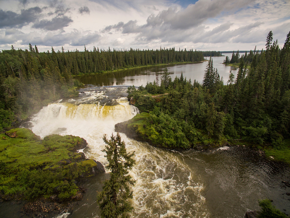 Canada, Manitoba, Pisew Falls Provincial Park, Aerial view of waterfall on the Grass River in boreal forest