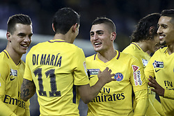 December 13, 2017 - Strasbourg, France - Angel di Maria of PSG celebrate his goal with Marco Verratti during the french League Cup match, Round of 16, between Strasbourg and Paris Saint Germain on December 13, 2017 in Strasbourg, France. (Credit Image: © Elyxandro Cegarra/NurPhoto via ZUMA Press)