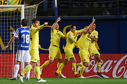 January 27, 2018 - Vila-Real, Castellon, Spain - Villarreal CF players celebrates the first goal during the La Liga match between Villarreal CF and Levante Union Deportiva, at Estadio de la Ceramica, on January 26, 2018 in Vila-real, Spain  (Credit Image: © Maria Jose Segovia/NurPhoto via ZUMA Press)