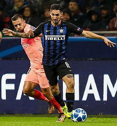 November 7, 2018 - Milan, Italy - Matteo Politano (R) of Inter Milan and Jordi Alba of Barcelona vie for the ball during the Group B match of the UEFA Champions League between FC Internazionale and FC Barcelona on November 6, 2018 at San Siro Stadium in Milan, Italy. (Credit Image: © Mike Kireev/NurPhoto via ZUMA Press)