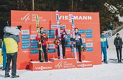 18.01.2020, Hochfirstschanze, Titisee Neustadt, GER, FIS Weltcup Ski Sprung, Siegerehrung, im Bild 2. Platz Stefan Kraft (AUT), Winner Dawid Kubacki (POL), 3. Platz Ryoyu Kobayashi (JPN) // 2nd placed Stefan Kraft of Austria Winner Dawid Kubacki of Poland 3rd placed Ryoyu Kobayashi of Japan during the winner ceremony for the FIS Ski Jumping World Cup at the Hochfirstschanze in Titisee Neustadt, Germany on 2020/01/18. EXPA Pictures © 2020, PhotoCredit: EXPA/ JFK