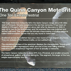 The Quinn Canyon Meteorite on display at The Fleischmann Planetarium and Science Center on the campus of the University of Nevada, Reno, Thursday, Oct. 15, 2009. The Meteorite was discovered in 1908 about 90 miles east of Tonapah, Nev. It was cut into two pieces by the Smithsonian. This segment, the larger of the two weighs approxiametly one ton...Photo by David Calvert for VIA Magazine