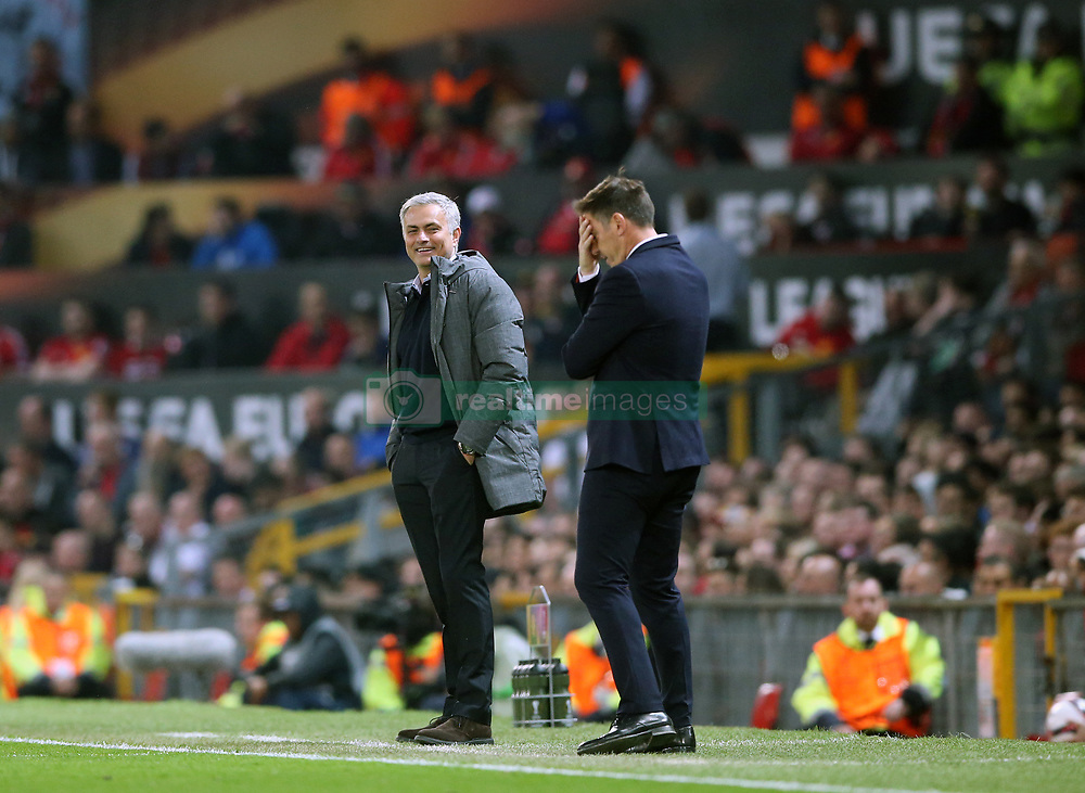 Manchester United manager Jose Mourinho (left) and Celta Vigo manager Eduardo Berizzo on the touchline during the UEFA Europa League, Second Leg match at Old Trafford, Manchester.