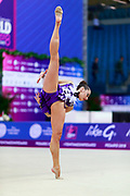 Halkina Kastiaryna during final at ball in World Cup Pesaro, Adriatic Arena on April 15,2018. Katsiaryna is a Belarusian rhythmic gymnastics athlete born February 25,1997 in Minks, Belarus.