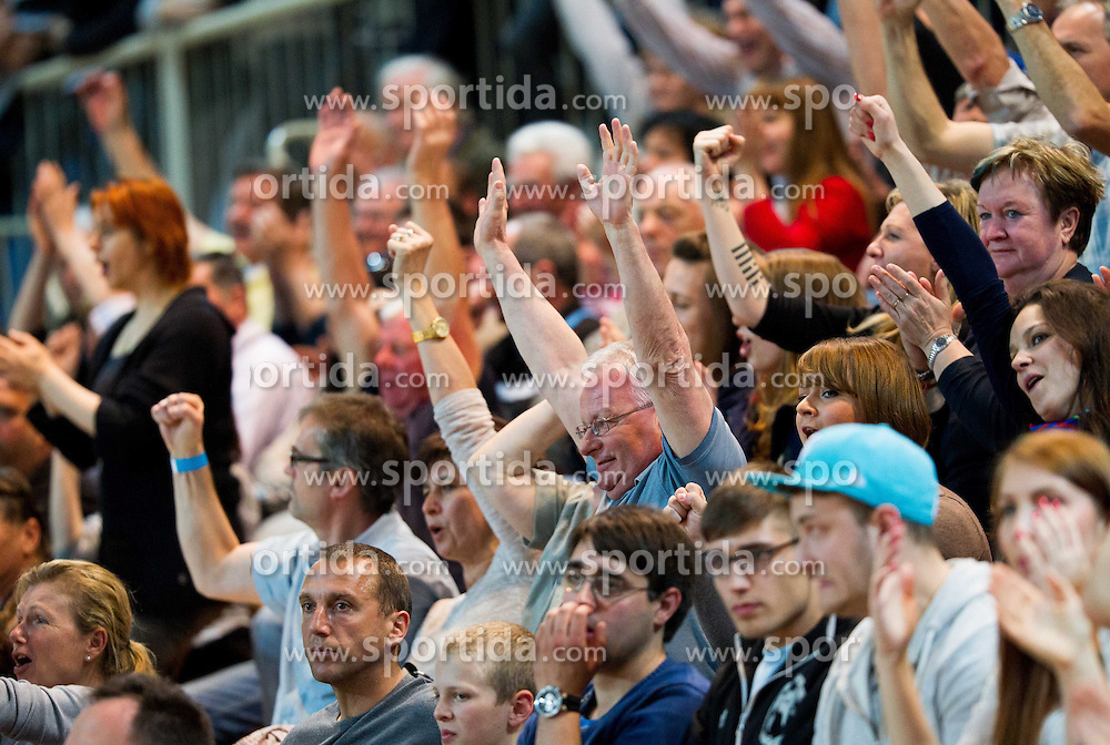 Supporters of Koper during handball match between RK Cimos Koper and RK Celje Pivovarna Lasko in 26th Round of 1st NLB Leasing league 2012/13 on April 14, 2013 in Arena Bonifika, Koper, Slovenia. (Photo By Vid Ponikvar / Sportida)