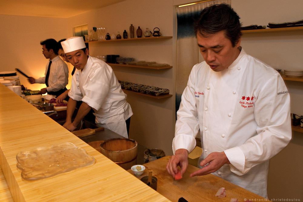 Hiroyuki Kanda while making sushi at the Kanda restaurant in Tokyo.