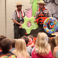 Adam Robison | BUT AT PHOTOS.DJOURNAL.COM<br /> Park Ranger Chris Gurner talks about floats during water safety day to Saltillo Primary School Kindergarteners Wednesday morning.