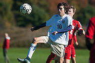 Essex's Hamza Halilovic (10) plays the ball during the boys soccer game between the Champlain Valley Union Redhawks and the Essex Hornets at Essex High School on Saturday mooring October 10, 2015 in Essex. (BRIAN JENKINS/For the FREE PRESS)