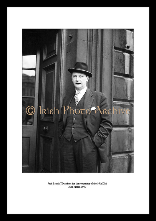 Jack Lynch TD arrives for the reopening of the 16th Dáil<br /> 20th March 1957