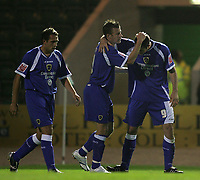 Photo: Lee Earle.<br /> Plymouth Argyle v Cardiff City. Coca Cola Championship. 12/09/2006. Cardiff's Sreven Thompson (R) is congratulated after scoring the opening goal.