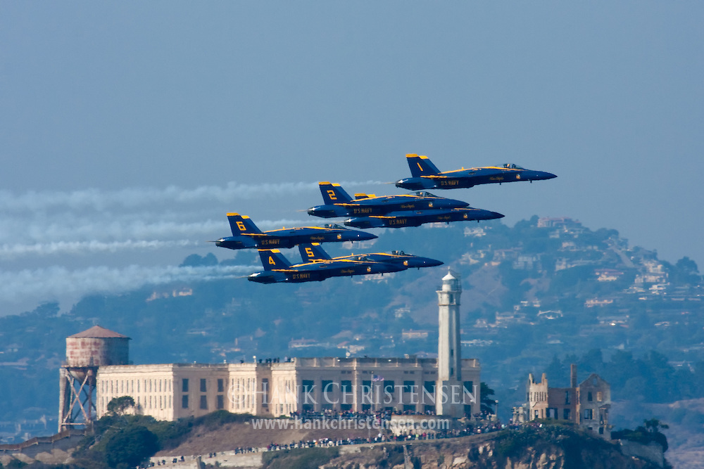 The Blue Angels fly in formation in front of Alcatraz during the San Francisco Fleet Week airshow