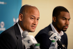 Charlotte Hornets general manager Rich Cho, left, during a news conference on July 7, 2016, at Time Warner Cable Arena in Charlotte, N.C. (Photo by Jeff Siner/Charlotte Observer/TNS) *** Please Use Credit from Credit Field ***