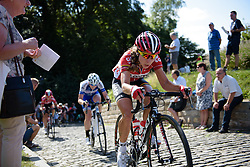 Elise Delzenne (Lotto Soudal) on Muur van Geraardsbergen at the 97 km Stage 3 of the Lotto Belgium Tour 2016 on 9th September 2016 in Geraardsbergen, Belgium. (Photo by Sean Robinson/Velofocus).