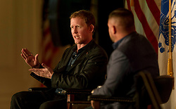 July 27, 2017 - Yorba Linda, California  U.S. -  ROBERT J. O'NEILL, the former U.S. Navy SEAL and special warfare operator, discusses his career and his book, ''The Operator: Firing the Shots that Killed Osama bin Laden'' in the East Room of the Richard Nixon Presidential Library.(Credit Image: © Brian Cahn via ZUMA Wire)