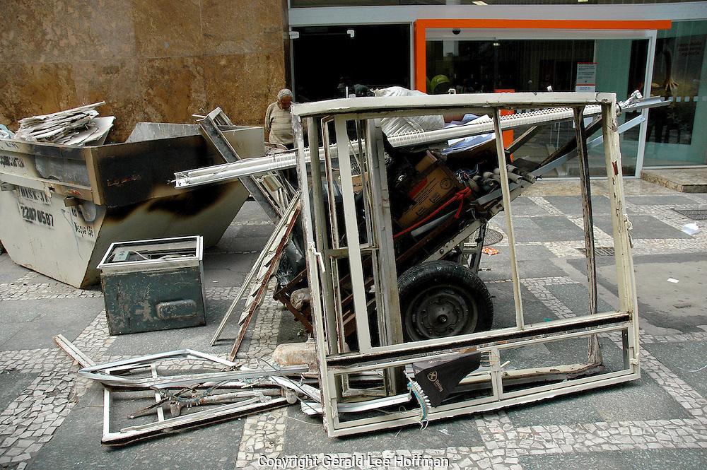 Frames on a sidewalk Sao Paulo.