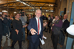 © Licensed to London News Pictures. 09/05/2019.<br /> Medway,UK. Jeremy walking out of the hall after his speech. Labour leader Jeremy Corbyn launching the Labour Party's European election manifesto at University of Kent, Medway campus, Kent.Photo credit: Grant Falvey/LNP