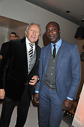 Left to right, HAROLD TILLMAN and OZWALD BOATENG at the unveiling of the Helena Christensen and Swarovski Crystallized Unsigned Model search winners held at Swarovski Crystallized, 24 Great Marlborough Street, London on 26th January 2012.