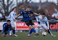 FODBOLD: Magnus Häuser (HB Køge) og Mikkel Basse (FC Helsingør) under kampen i NordicBet Ligaen mellem FC Helsingør og HB Køge den 17. marts 2019 på Helsingør Stadion. Foto: Claus Birch
