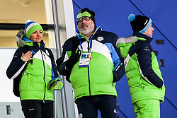 PYEONGCHANG-GUN, SOUTH KOREA - FEBRUARY 10: Maja Makovec Brencic, Slovenian Minister for Education and Sport, Brane Dimitrovic of OKS and Enzo Smrekar, president of SZS during the Mens Ski Jumping - Normal Hill, Individual on day one of the PyeongChang 2018 Winter Olympic Games at Alpensia Ski Jumping Center on February 10, 2018 in Pyeongchang-gun, South Korea. Photo by Kim Jong-man / Sportida