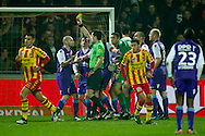 Onderwerp/Subject: Willem II - Jupiler League<br /> Reklame:  <br /> Club/Team/Country: Willem II<br /> Seizoen/Season: 2011/2012<br /> FOTO/PHOTO: Hans MULDER (L) of Willem II receives a yellow card from Referee Dennis HIGLER (C). (Photo by PICS UNITED)<br /> <br /> Trefwoorden/Keywords: <br /> #05 #08 #18 $94 ±1324459613958<br /> Photo- & Copyrights © PICS UNITED <br /> P.O. Box 7164 - 5605 BE  EINDHOVEN (THE NETHERLANDS) <br /> Phone +31 (0)40 296 28 00 <br /> Fax +31 (0) 40 248 47 43 <br /> http://www.pics-united.com <br /> e-mail : sales@pics-united.com (If you would like to raise any issues regarding any aspects of products / service of PICS UNITED) or <br /> e-mail : sales@pics-united.com   <br /> <br /> ATTENTIE: <br /> Publicatie ook bij aanbieding door derden is slechts toegestaan na verkregen toestemming van Pics United. <br /> VOLLEDIGE NAAMSVERMELDING IS VERPLICHT! (© PICS UNITED/Naam Fotograaf, zie veld 4 van de bestandsinfo 'credits') <br /> ATTENTION:  <br /> © Pics United. Reproduction/publication of this photo by any parties is only permitted after authorisation is sought and obtained from  PICS UNITED- THE NETHERLANDS