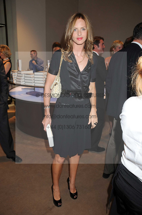 TRINNY WOODALL at a party to celebrate the publication of Sashenka by Simon Sebag-Montefiore held at Asprey, Bond Street, London on 1st July 2008.<br />
