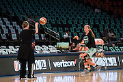 Carolyn Swords #8 of the New York Liberty warms up before tipoff against the Phoenix Mercury during the second round of the WNBA Playoffs at Madison Square Garden in New York on September 24, 2016. (Cooper Neill for The New York Times)