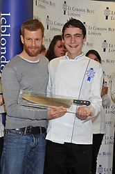 Left to right, TOM AIKENS and LLOYD PINDER winner of the Cordon Bleu scholarship at the Grand Opening of Le Cordon Bleu's International Flagship School at 15 Bloomsbury Square, London WC1 on 7th February 2012.