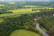 Aerial view of the Upper Iowa River bluffs in northeast Iowa on a beautiful summer day.
