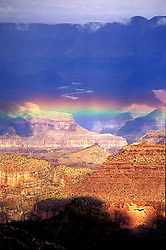 Grand Canyon National Park, AZ:  Rainbow after a storm, from Mather Point on the South Rim.  Note: color is accurate.  This image has been slightly darkened, but not been enhanced; original available.