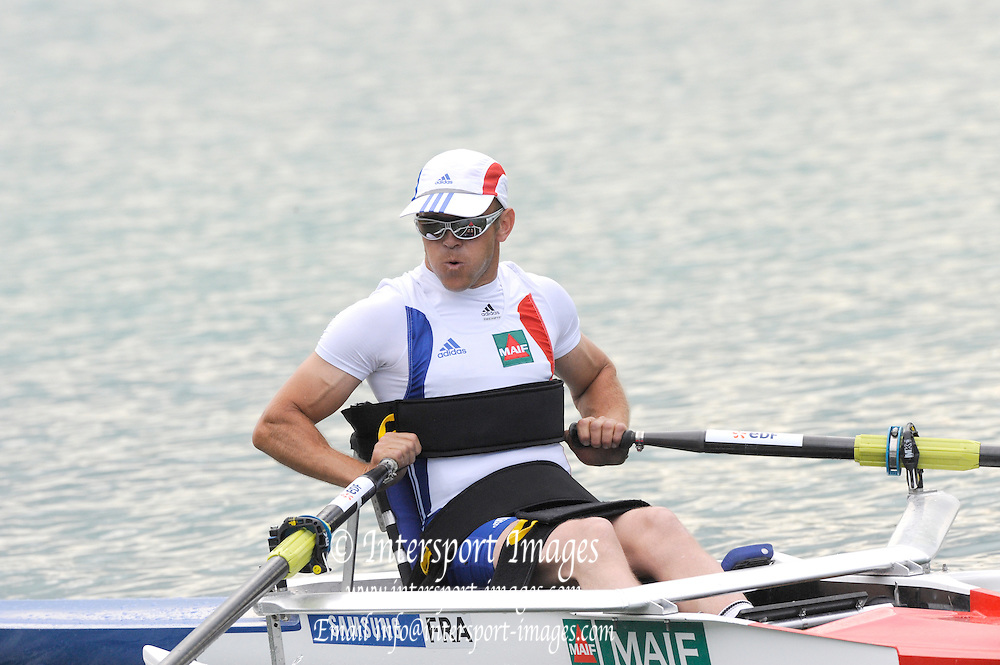 Munich, GERMANY,  Adaptive Rowing. FRA. ASM1X. Pascal DANIERE. 2011 FISA World Cup. 1st Rd. Munich Olympic Rowing Course, Thursday  26/05/2011. [Mandatory Credit Peter Spurrier/ Intersport Images]