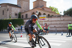 Marta Tagliaferro (ITA) of Cylance Pro Cycling leans into the final corner on Stage 1 of the Madrid Challenge - a 12.6 km team time trial, starting and finishing in Boadille del Monte on September 15, 2018, in Madrid, Spain. (Photo by Balint Hamvas/Velofocus.com)