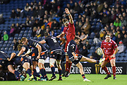 Henry Pyrgos kicks clear during the Guinness Pro 14 2018_19 match between Edinburgh Rugby and Scarlets at BT Murrayfield Stadium, Edinburgh, Scotland on 2 November 2018.