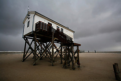 GERMANY ST PETER ORDING 30DEC12 - ..Beach hut on stilts at St. Peter Ording on the north sea coast, northern Germany...Sankt Peter-Ording is a popular German seaside spa and the only German seaside resort that has a sulphur spring...jre/Photo by Jiri Rezac....© Jiri Rezac 2012