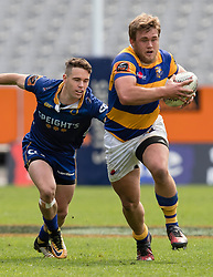 Bay of Plenty's Jeff Thwaites, right, makes a run as Otago's Fletcher Smith lines up a tackle in the Mitre 10 Cup rugby match, Forsyth Barr Stadium, Dunedin, New Zealand, Oct. 7 2017.  Credit:SNPA / Adam Binns ** NO ARCHIVING**
