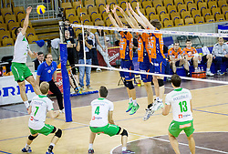 Dejan Pelemis of Panvita Pomgrad during volleyball game between OK ACH Volley and OK Panvita Pomgrad in 1st final match of Slovenian National Championship 2013/14, on April 6, 2014 in Arena Tivoli, Ljubljana, Slovenia. Photo by Vid Ponikvar / Sportida