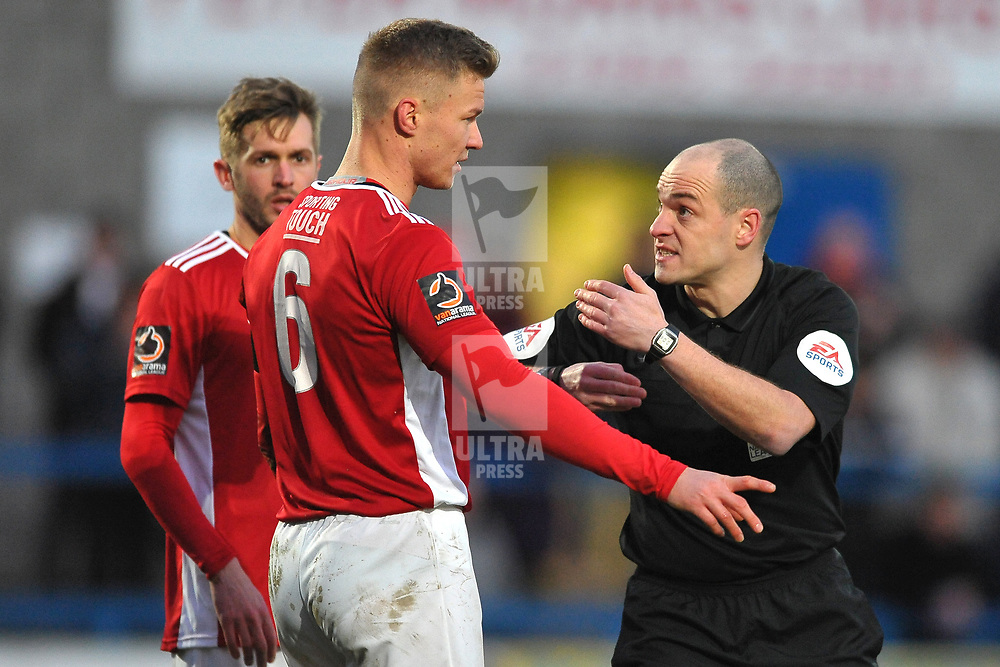 TELFORD COPYRIGHT MIKE SHERIDAN Referee Nathaneal Cox chats to Gareth Dean of Brackley  during the Vanarama Conference North fixture between AFC Telford United and Brackley Town at the New Bucks Head on Saturday, January 4, 2020.<br /> <br /> Picture credit: Mike Sheridan/Ultrapress<br /> <br /> MS201920-039