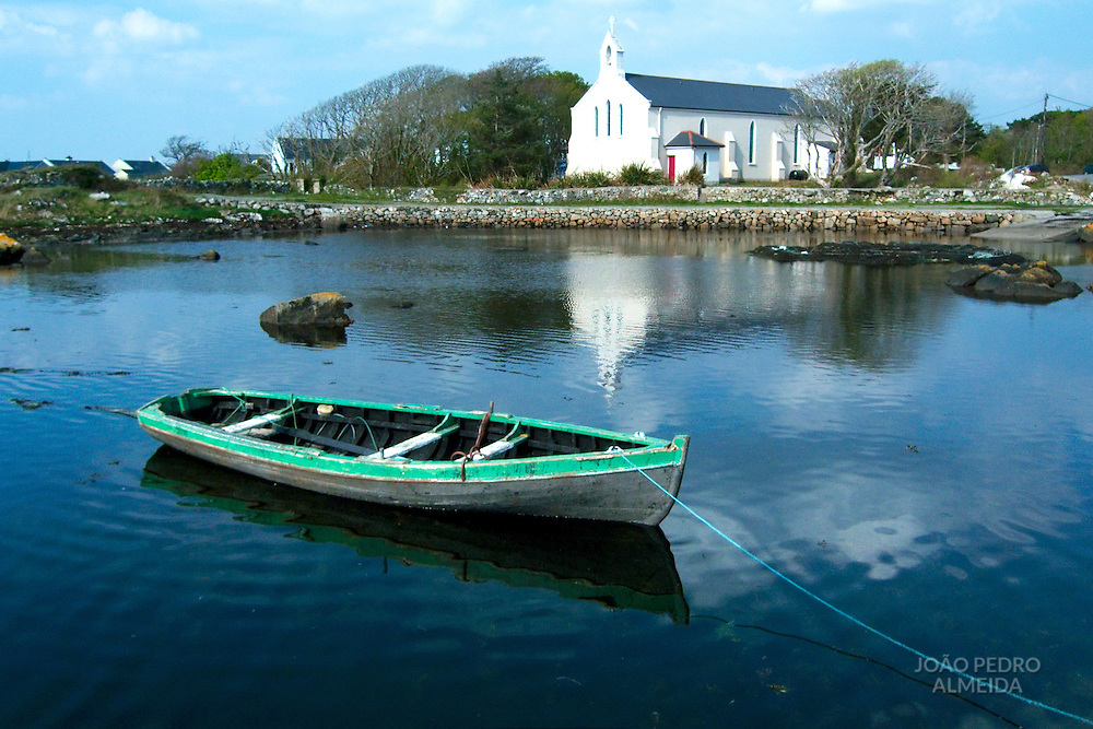 Row boat at small Connemara village in Ireland