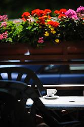 Flowers surrounding a cafe in Molshiem, Alsace, France<br /> <br /> (c) Andrew Wilson   Edinburgh Elite media