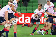 MELBOURNE, AUSTRALIA - APRIL 06: Will Genia of the Rebels passes the ball during warm up at round 8 of The Super Rugby match between Melbourne Rebels and Sunwolves on April 06, 2019 at AAMI Park in VIC, Australia. (Photo by Speed Media/Icon Sportswire)