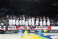 United State´s players and coach listen to the national anthem with the golden medal during FIBA Basketball World Cup Spain 2014 final award ceremony after winning against Serbia at `Palacio de los deportes´ stadium in Madrid, Spain. September 14, 2014. (ALTERPHOTOSVictor Blanco)