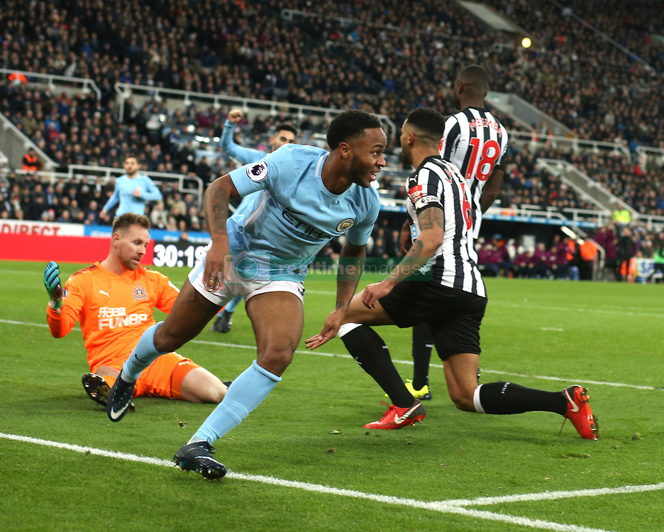 27 December 2017 Newcastle: Premier League Football - Newcastle United v Manchester City : Raheem Sterling of City celebrates the winning goal.<br /> (photo by Mark Leech)